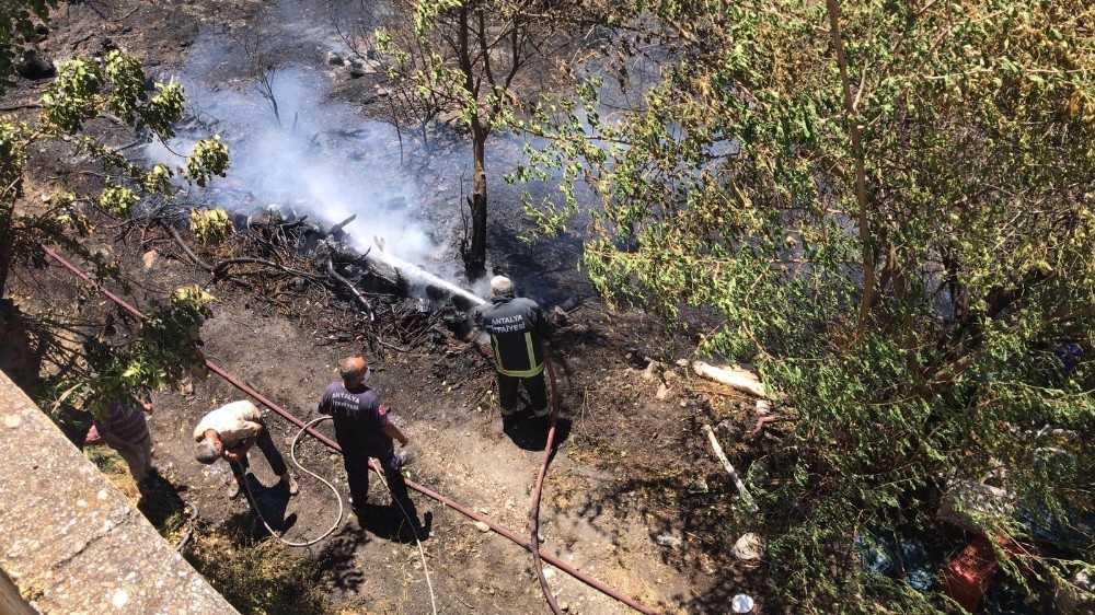 Alanya'daki bahçe yangını yerleşim yerlerine sıçramadan söndürüldü
