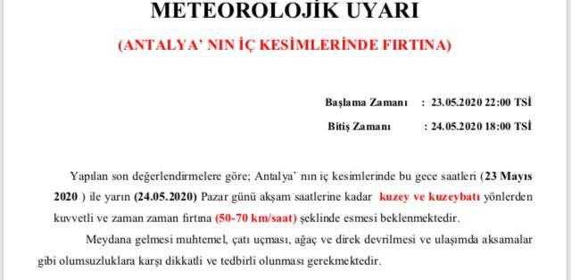 Antalya meteorolojik uyarı