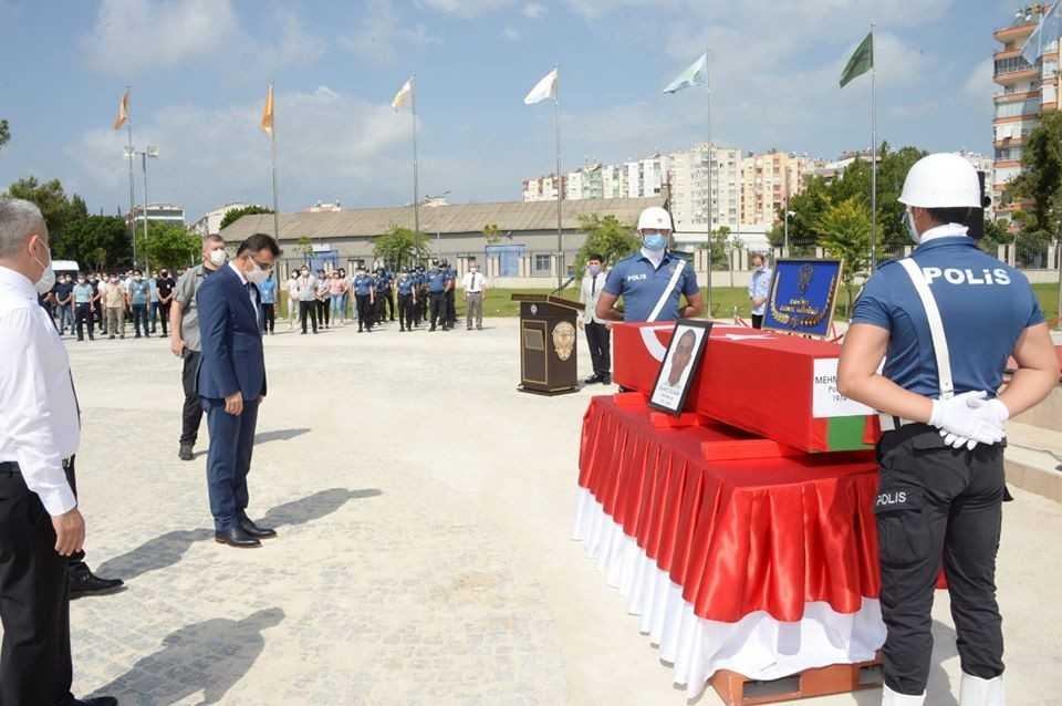 Antalya'da hayatını kaybeden polis için tören düzenlendi