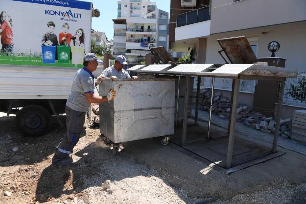 Konyaaltı'nda 140 noktada 672 çöp konteyneri yer altına alındı