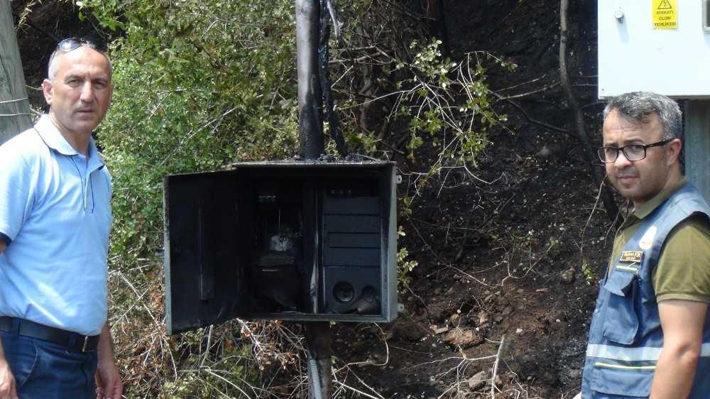 Manavgat'ta patlayan elektrik panosu orman yangınına sebep oldu