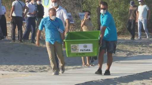 Bakan Kurum ve Emine Erdoğan, deniz kaplumbağalarını denizle buluşturdu