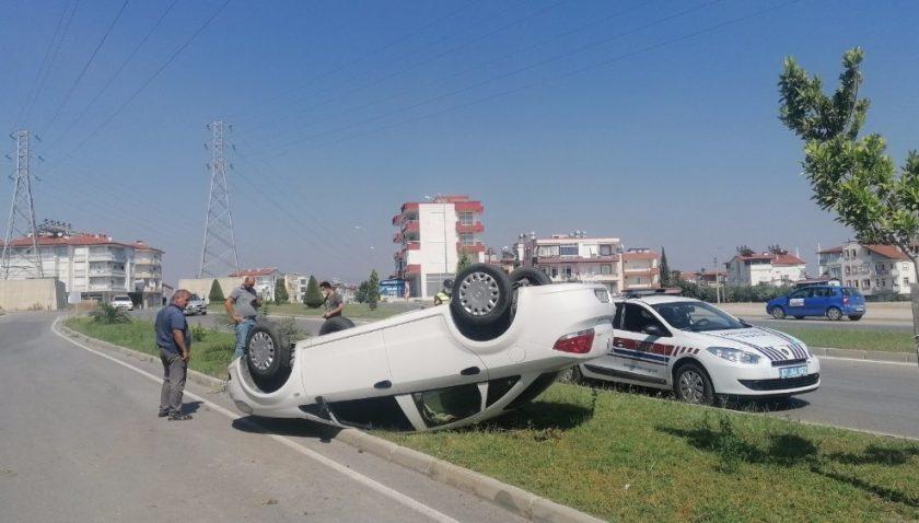 Otomobil takla attı, sürücünün burnu bile kanamadı