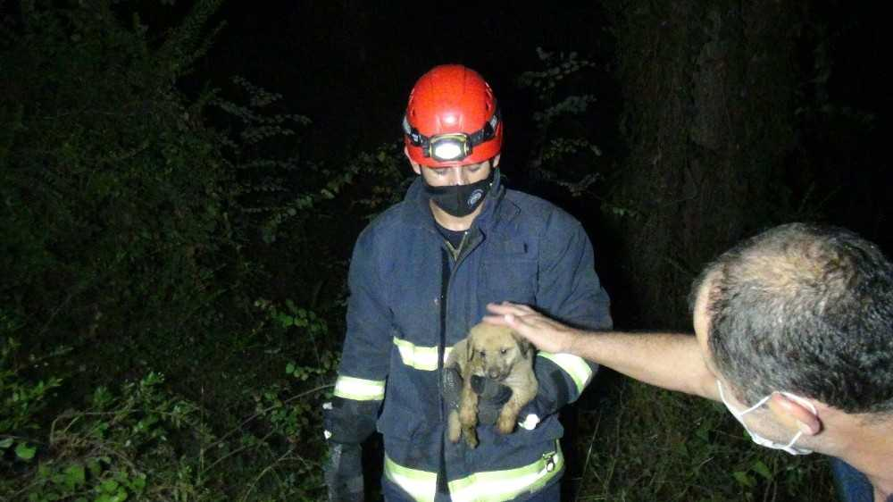 Antalya'da köpeği kurtarmak isterken mahsur kalan vatandaşı kurtarma operasyonu
