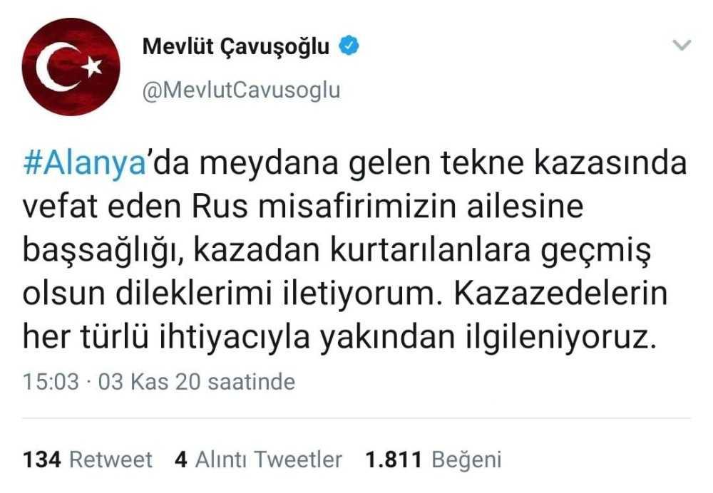 """Bakan Çavuşoğlu: """"Rus misafirimizin ailesine başsağlığı, kazadan kurtarılanlara geçmiş olsun dileklerimi iletiyorum"""""""