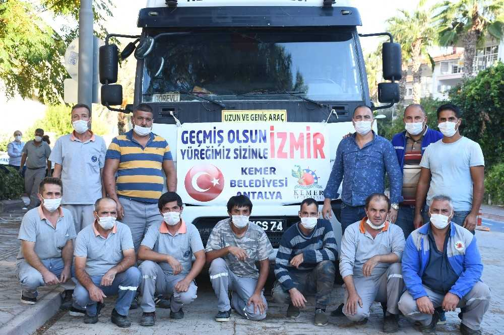 Kemer'den İzmir'e yardım tırı