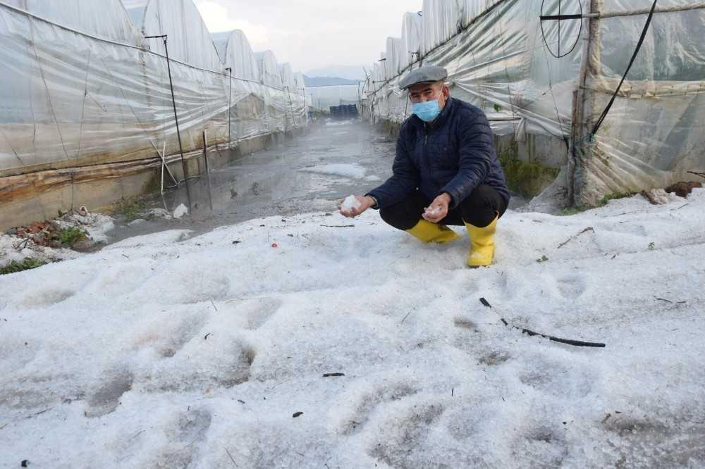 Kumluca'da yağan dolu seralara zarar verdi