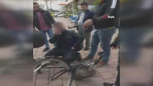 Meydan dayağı yiyen bisikletli taciz zanlısı tutuklandı
