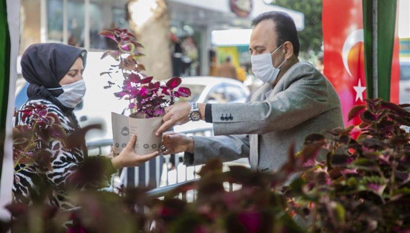 Alanya'nın fethinin 800. yılı anısına 3 bin çiçek dağıtımı yapıldı