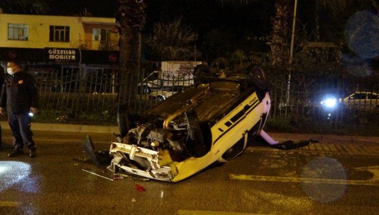 İki otomobile çarpan araç takla attı:1 yaralı
