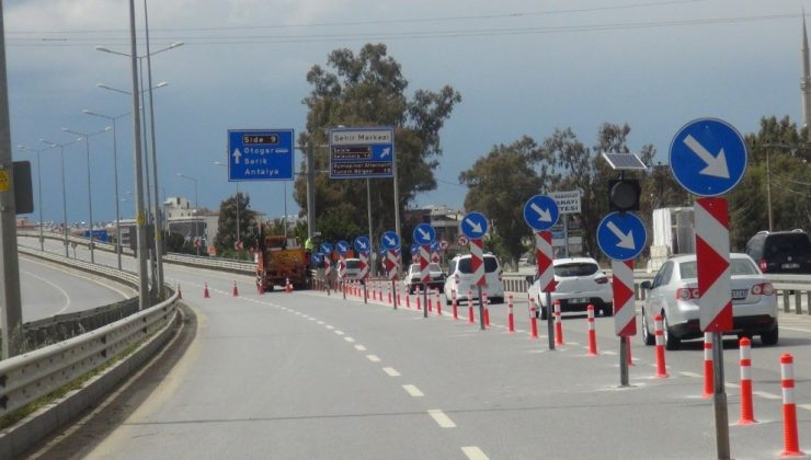 Manavgat Sanayi Köprülü kavşağı 10 gün trafiğe kapatıldı