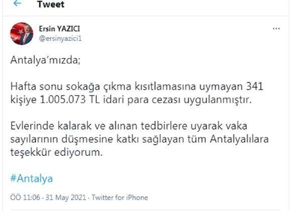 341 kişiye 1 milyon TL ceza