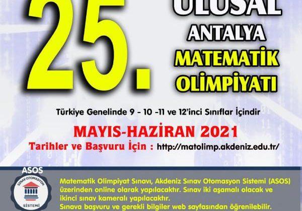 Antalya Matematik Olimpiyatları çevrim içi olacak