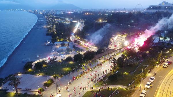 Antalya'da renkli mobil fener alayı