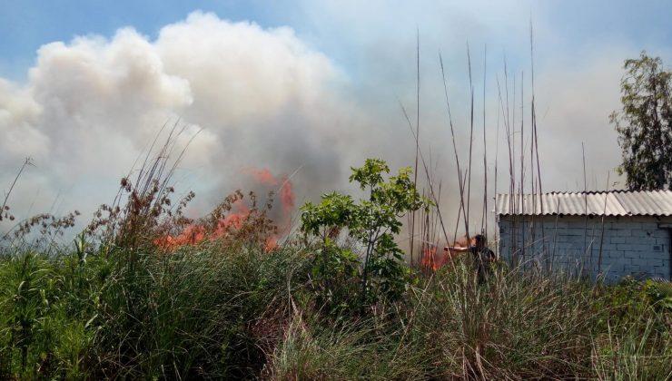 Antalya'da sazlık yangını ahır ve ev eklentilerini tehdit ediyor