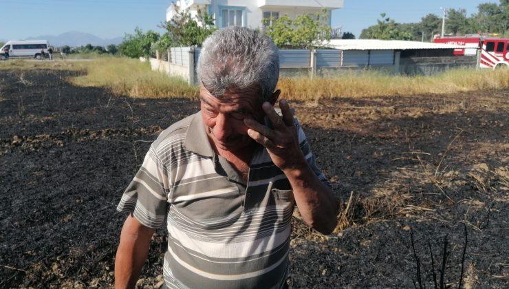 Buğday tarlasında çıkan yangın, tarla sahibini gözyaşlarına boğdu
