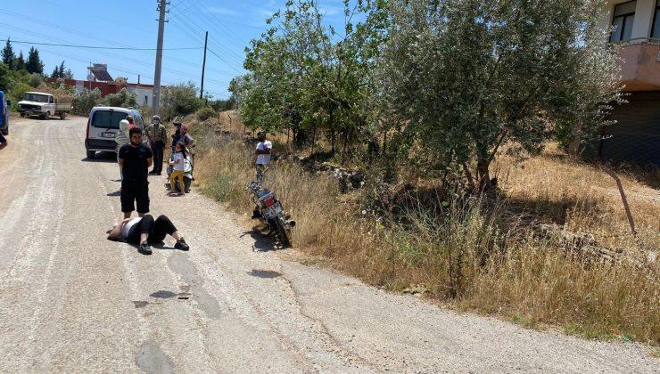 Devrilen motosiklette bulunan kadın yolcu yaralandı