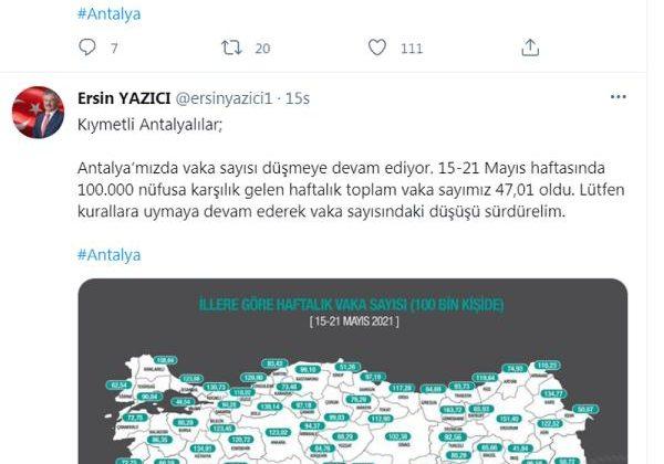 Korona haritasında Antalya ilk kez 'sarı' (2)