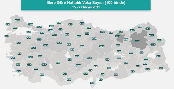 Korona haritasında Antalya ilk kez 'sarı'