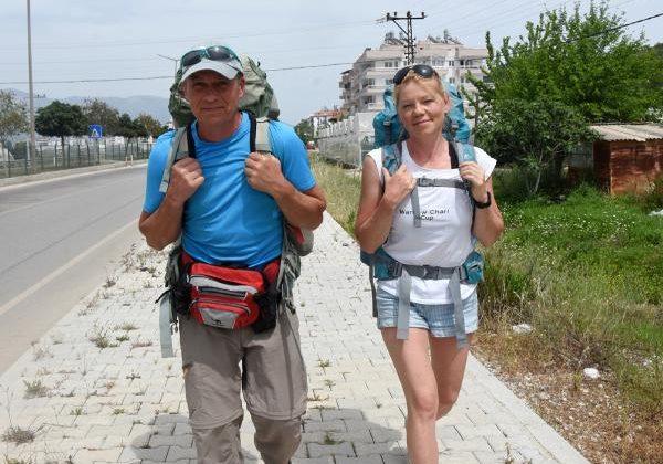 Ukraynalı çiftin 25 günlük Likya Yolu yürüyüşü