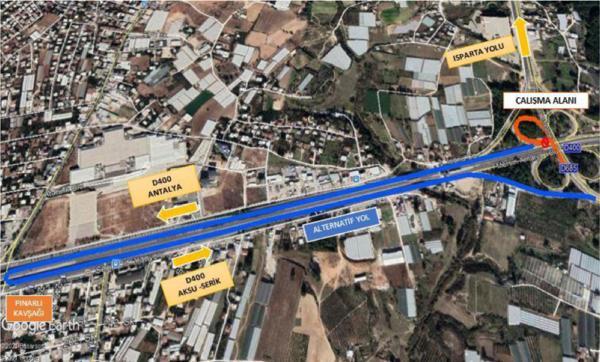 Aksu ilçesi Isparta Katlı Kavşağı trafiğe kapatılacak