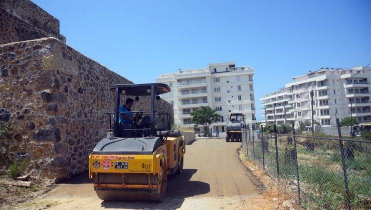 Alanya'da av köşküne beton yol çalışması