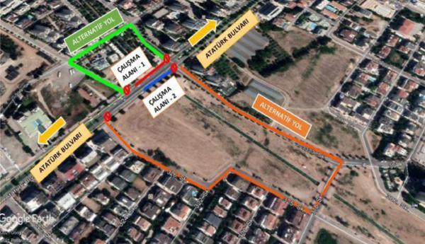 Asfalt çalışması nedeniyle Atatürk Bulvarı'nın bir kısmı trafiğe kapatılacak