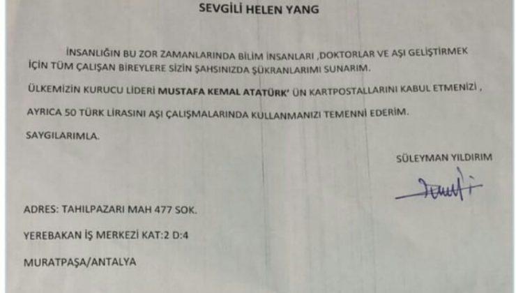 Mali müşavirden Sinovac'a 50 TL ile Atatürk kartpostalı teşekkür mektubu