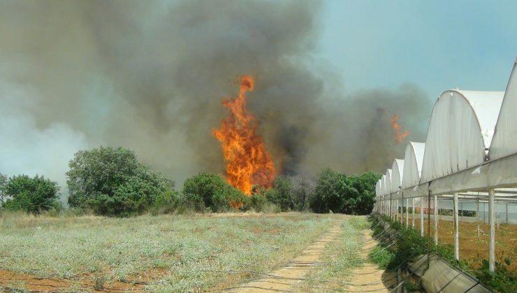 Serik'teki yangına havadan karadan müdahale ediliyor