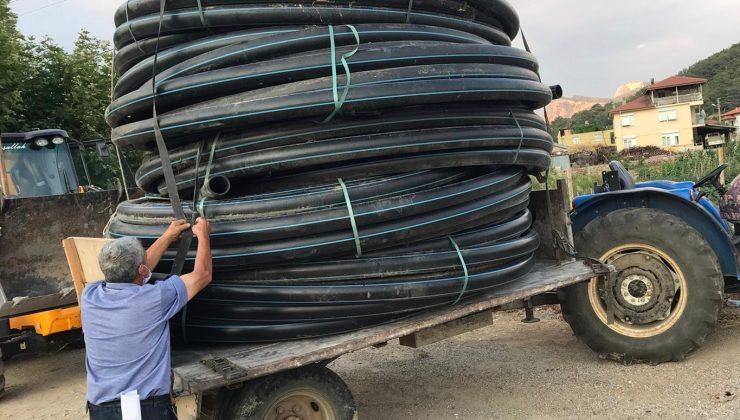 Akseki'de üreticiye sulama borusu yardımı