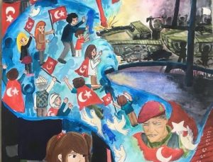 Alanyalı  öğrenci 15 Temmuz resim yarışmasında Türkiye üçüncüsü oldu