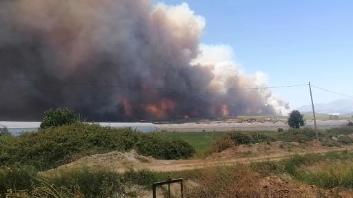 Antalya'daki orman yangını sebebiyle gökyüzü dumanla kaplandı