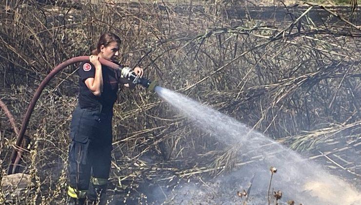 Kadın itfaiye erinin yangınla imtihanı
