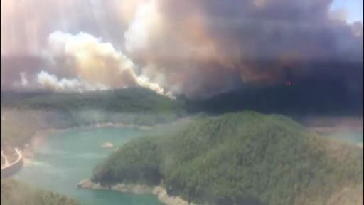 Manavgat'taki yangın helikopterden görüntülendi