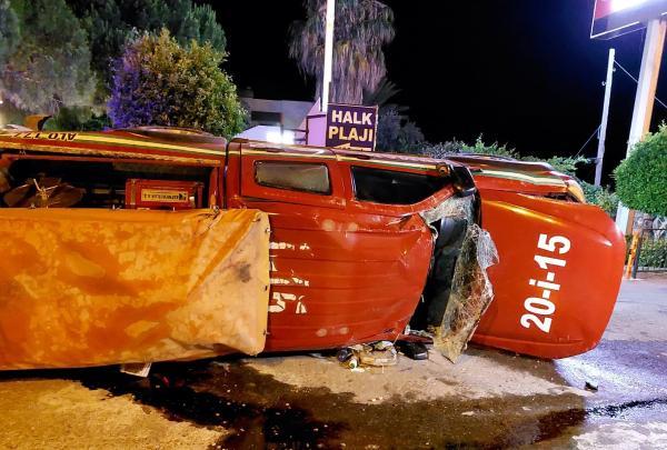 Mersin'deki yangına gitmeye çalışan ekip kaza yaptı: 2 yaralı