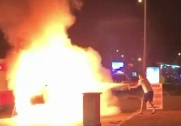 Otomobil alev alev yandı, sürücü kurtarıldı; o anlar kamerada