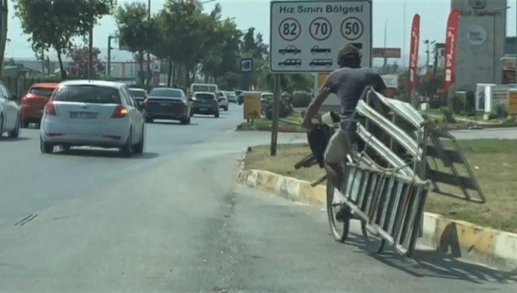 (ÖZEL) Bisikletini nakliye arabasına çevirdi, ölüme davetiye çıkardı