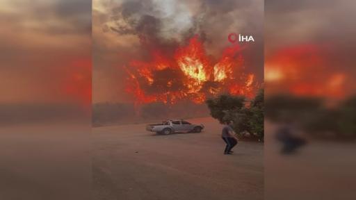 Yangın yerleşim yerlerine ulaştı…Panik anları kamerada