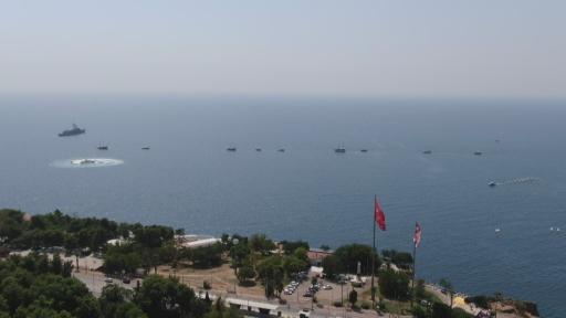 30 Ağustos Zafer Bayramı kutlamasında teknelerin görsel şöleni