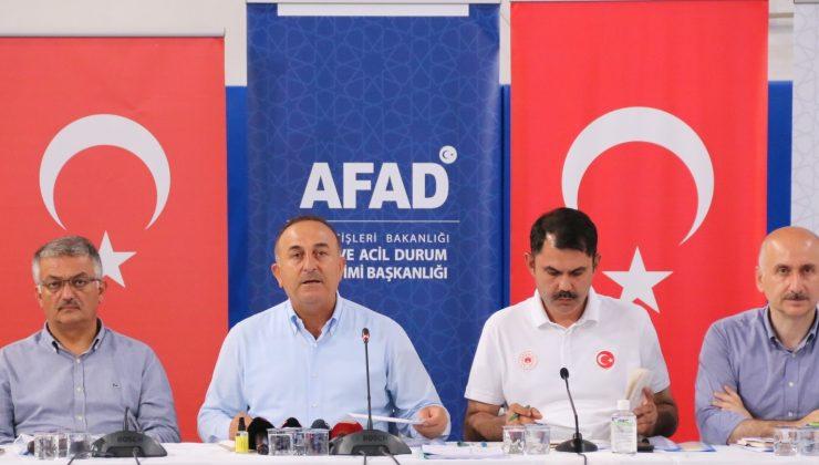 """Bakan Çavuşoğlu: """"Manavgat ve Gündoğmuş yangınları kontrol altına alındı, 59 mahalle etkilendi"""""""