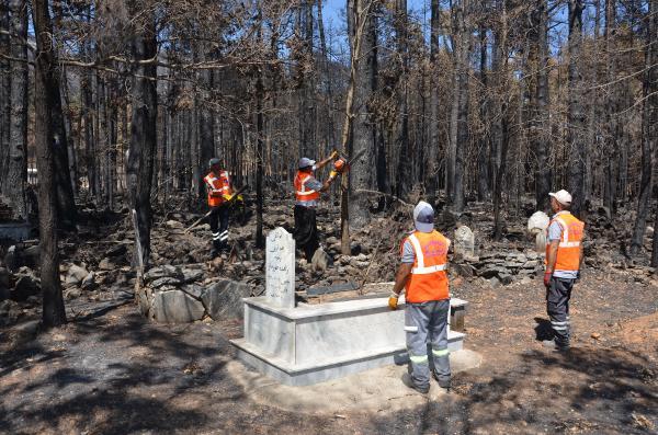 Büyükşehir, mezarlıklarda yangının izlerini silmeye çalışıyor