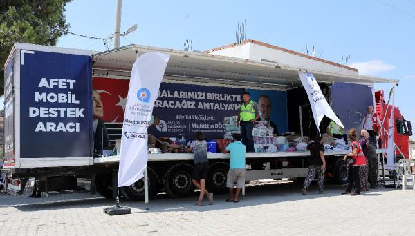Büyükşehir'den yangın bölgesine mobil destek