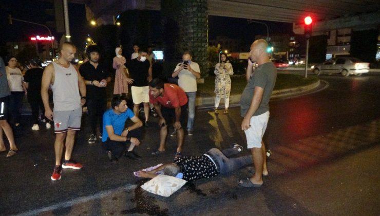 Kırımızı ışıkta geçen otomobil , alkollü motosiklet sürücüsüne çarptı: 1 ağır yaralı