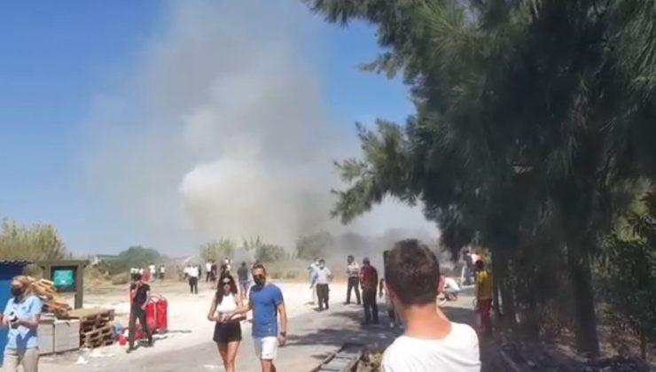 Manavgat'ta sazlık yangını panik oluşturdu
