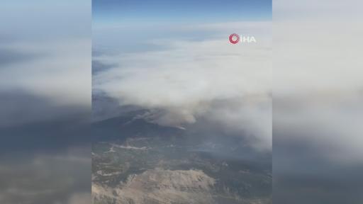 Manavgat'taki yangın yolcu uçağından böyle görüntülendi