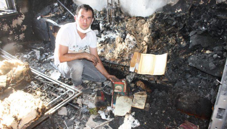 Yangında küle dönen evde bir tek Kur'an-ı Kerimler zarar görmedi
