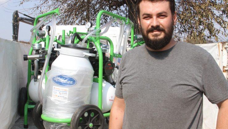 Yangında zarar gören hayvan sahiplerine ücretsiz süt sağma makinesi dağıtıyorlar