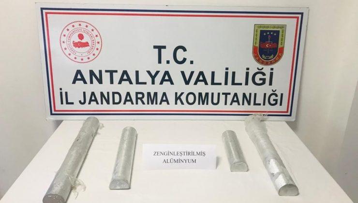 Antalya'da jandarmadan zenginleştirilmiş saf alüminyum operasyonu
