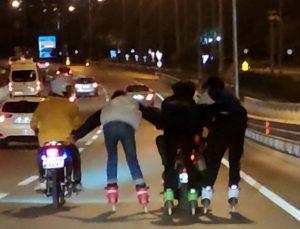 Antalya'da trafikte 'pes' dedirten tehlike dolu anlar