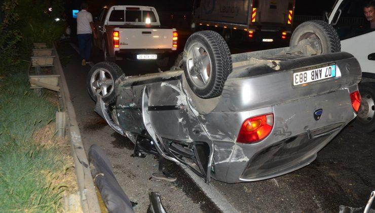 Kontrolden çıkan araç takla attı: 3 yaralı